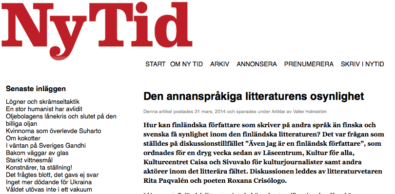 Den annanspråkiga litteraturens osynlighet